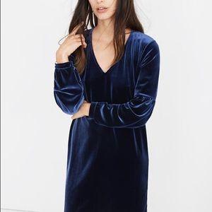 [Madewell]  Navy Blue Velvet Dress -S
